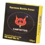 Squeeze Bottle Covers - Box of 200. Blue, transparent. Manufactured by CAM Supply Inc. Great quality & price.