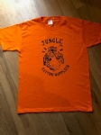 Retro style Jungle Tattoo Supplies t-shirt. Tiger design in orange. Design by Nathan Green. Available Mens & Ladies S-XL.