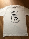 Retro style Jungle Tattoo Supplies t-shirt. Toucan design in white. Design by Nathan Green. Available Mens & Ladies S-XXL.